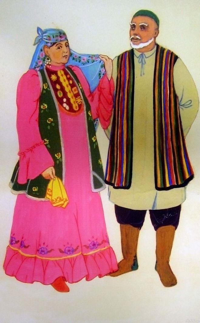 татарский национальный костюм мужской и женский картинки ведьм, фото