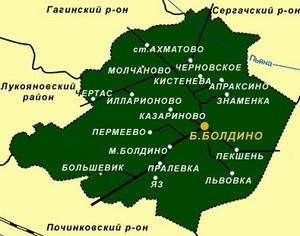 старинная карта Большеболдинский район